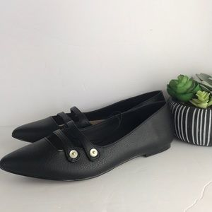 Who What Wear Pointed Toe Black Flats 7.5 Women's